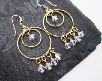 Crystal Hoops -- Swarovski Crystal Hoop Earrings -- Crystal Beaded Hoops -- Crystal Clear Dangles -- Gold and Clear Earrings -- Gold Hoops