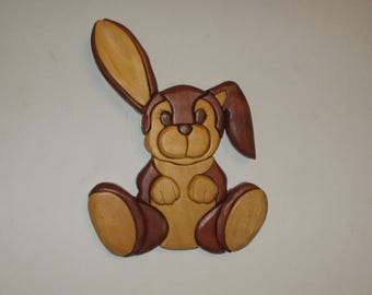 Bunny Rabbit handmade intarsia wood art wall hanging