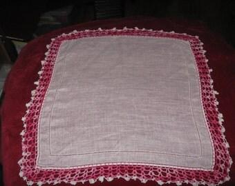 Crocheted Edging Handkerchief/Doily