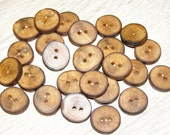 "Small 25 Handmade apple wood Tree Branch Buttons with Bark, accessories (0,67'' diameter x 0,16"" thick)"