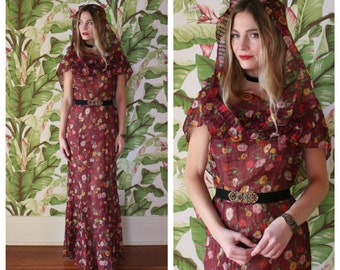 Vintage 30s Maxi Dress / Cranberry Floral Dreamy Ethereal Dress /Thirties Garden Party Gown / Hooded Dress / Infinity Scarf Bridal Party