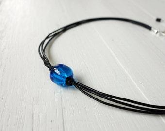 Blue bead choker black leather necklace single blue glass bead choker necklace for women