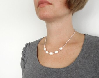 Large pearl necklace minimalist chain necklace white pearl necklace white freshwater pearls necklace for women