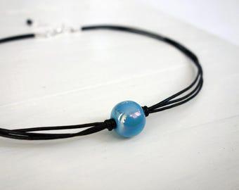 Blue bead choker black leather necklace blue ceramic bead minimalist choker necklace for women