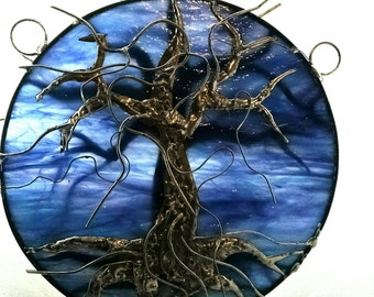 Tree of Life Silver and Copper Overlay on Purple Haze Blue Streaky Stained Glass OOAK