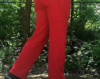 Bright Red Exercise Comfort Pocket Pants