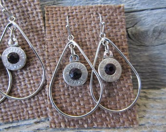 One pair 9mm Earrings with with garnet crystal  - Ready to Ship Today