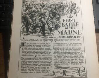 Thr first battle of the Marne 1914. 1933 book page history print illustration . Art frameable history
