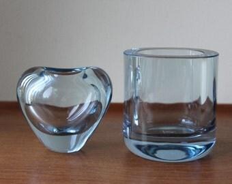 Vintage Holmegaard Aqua Blue Glass Vase (Right) by Per Lutken, Signed, Denmark