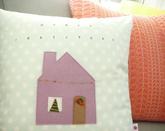 Holiday Pillow - Merry Christmas Pillow Cover - Christmas House - Holiday Decor - Ready to ship  - Gifts Under 30