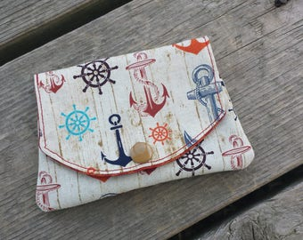 anchor on wood grab-n-go fabric wallet