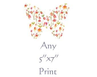 """Any 5""""x7"""" Fine Art Print, Watercolor Decor"""