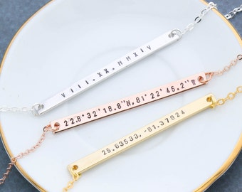 Long Coordinate Bar Necklace • Personalized Coordinates Necklace • Bridesmaid Gift • Silver Coordinate • Rose Gold Coordinate • Location