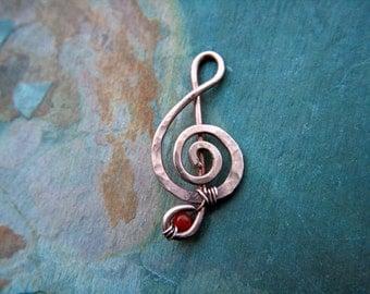 Music Note pendant,  treble clef, artistan, handmade, recycled, Carnelian, indie artist, symbol, copper, wire wrap, Bibi, Lemurian Diamond