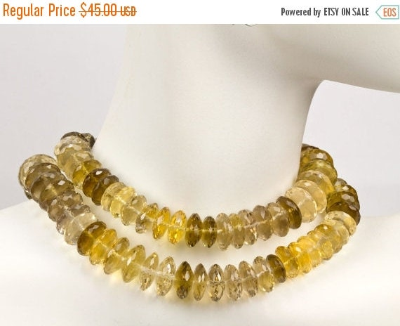 "ON SALE Faceted Quartz German Rondelles Beads Champagne Whiskey Beer Quartz Warm Color Wheels Discs - 4"" Strand - 9.4 to 12mm - 22 Beads"