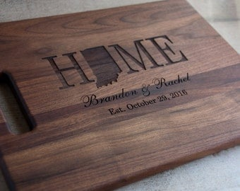 Personalized Engraved State Shape Cutting Board Choose From Walnut Maple Cherry or Bamboo