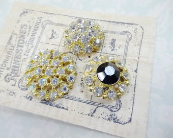 Bling Things (3) Each Beautiful Vintage Rhinestone Sewing Buttons Fashion Costume Embellishments