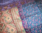 3 Antique 1920s India Silk Hand Rolled Hanky Handkerchief Scarves Made from Vintage Saris Lot 1