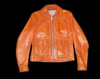 Vintage 1970s Schott Brown Leather Motorcycle Jacket Size 36
