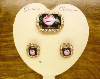 Vintage 1950's/1960's  Genuine Cloisonne Demi Parure  Deadstock