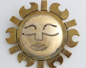 Abstract Sun Brooch Pin Sterling & Brass Signed Metales TP-142 Mexico 925