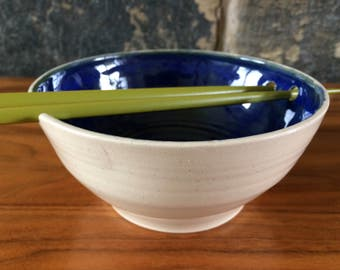 Large Chopstick sushi rice bowl stoneware pottery ceramic blue glaze