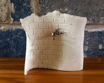 ceramic stoneware clock brick detail male masculine decor unique pottery homeware
