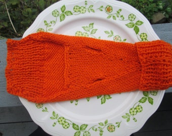 Orange Dog Sweater Knitted by SuzannesStitches, Hand Knit Dog Sweater, Knitted Dog Clothes, Knitted Dog Sweater, Dog Coat, Dog Jacket, Dog