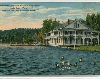 Swimming Refreshment Pavilion Lake Brady Park Beach Kent Ravenna Ohio 1910s postcard