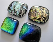 Four Freeform Uncalibrated Dichroic Glass Cabochons