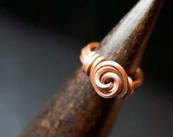 "Copper Square Wire Rosette Ring - ""Summer Dunes"""