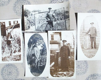 5 Military Men Snapshots - Rifles & Uniforms