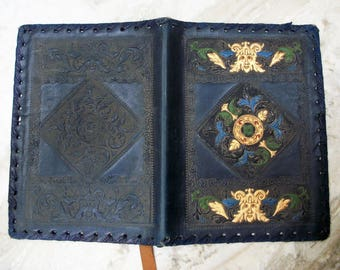 Vtg Italian Leather Hand Tooled Book Cover
