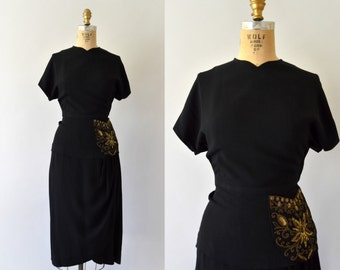1940s Vintage Dress - 40s Black Rayon Dress