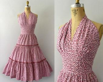 1950s Vintage Dress - 50s Pink Atomic Print Cotton Halter Neck Sundress