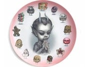 1 PER CUSTOMER - Just One Bite - Krampus -Special 2016 Christmas Holiday Limited Edition 10 inch Melamine Dinner Plate - by Mab Graves