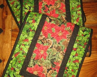 """Christmas Table Runner, Red Poinsettias and Pine Cones, Holiday Runner, 13 x 70"""" or 13 x 47"""", Christmas Runner, Fall Reversible"""