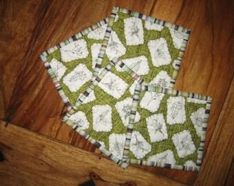 "Botanical Fabric Coasters, Green Plants With Stripes Drink Mats, 100% cotton fabrics, 5x5"""