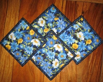 Quilted Fabric Coasters, Blue and Yellow Flowers, Coffee Drink Coasters, Pansy Mug Rugs, French Country Blue Yellow Coasters Handmade