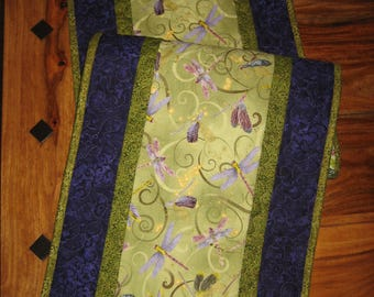 """Quilted Table Runner, Purple Blue Dragonflies on Green 13 x 48"""" Reversible 100% cotton fabric"""