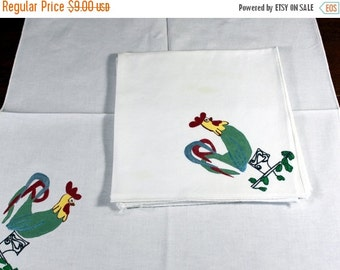 Vintage 5 White Napkins, Rooster Motif,  Fabric Painted Napkins  12131