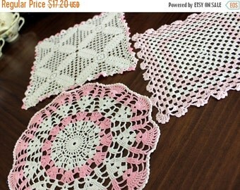 3 Assorted Crochet Doilies - Vintage Handmade Doily, Whites and Pink Lot, Multiple Doilies 13539