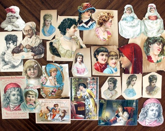 25 Victorian Trade Cards, Antique Images, Original Cards Cut From Albums, Die Cuts, 13896