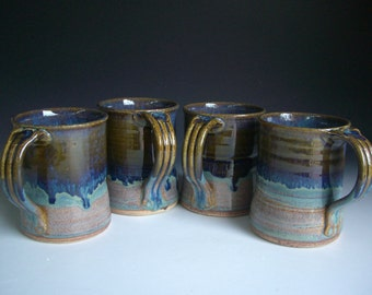 Hand thrown stoneware pottery large mugs set of 4  (LM-2)