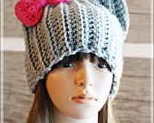 PDF Crochet Pattern Photo Tutorial - Pussyhat Cat Beanie Hat with Bow by AngelsChest - Sizes: Toddler, Child, Adult Pattern No. 73