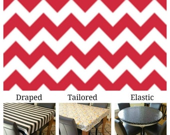 Laminated cotton aka oilcloth tablecloth custom size and fit choose elastic, tailored, or draped, red and white chevron