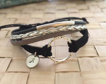 O Bracelet, Cord Bracelet, Boho Bracelet, Initial Bracelet, Hand Stamped Bracelet, Gift Ideas, Friendship Bracelet, Handmade Bracelet