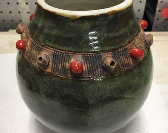 Moss Pot with Red Spheres