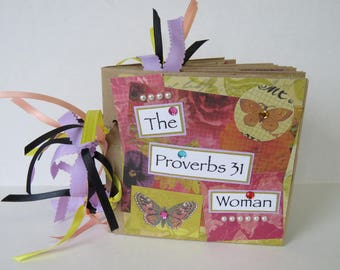 Proverbs 31 Woman, Paper Bag Album, Altered Album, Spring Flowers, Christian Gift.