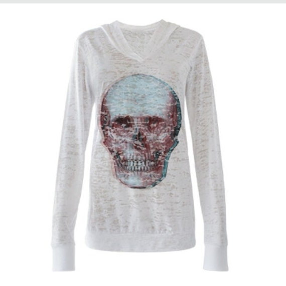 Scabby Chic Distressed Skull Hoodie Tee